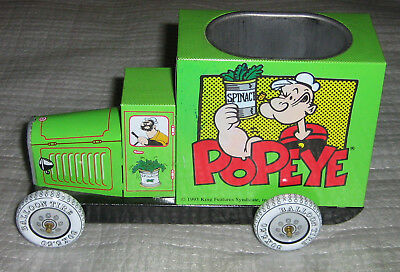 Popeye Pencil Holder Delivery Truck Tin Car 1993 Brutus Bluto