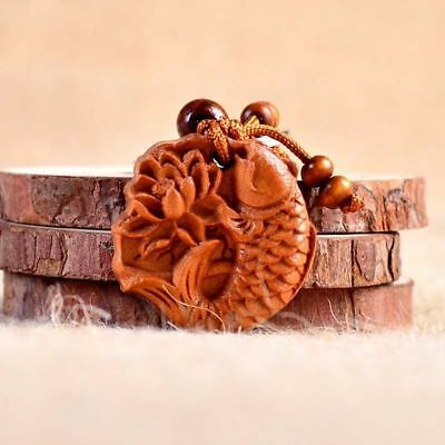 Chinese Feng Shui Geomancy Lotus Carp Wood Carving Statue Key Chain Ring