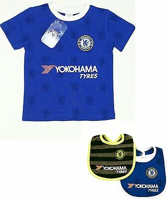 Chelsea Fc Babies Short Sleeved Football T-Shirt Jersey Kit Top Baby Pramsuit