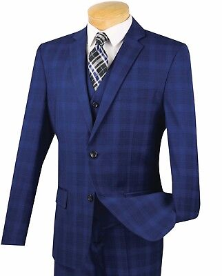 Men's Blue Glen Plaid 3 Piece 2 Button Slim-Fit Suit NEW w/ Matching Vest