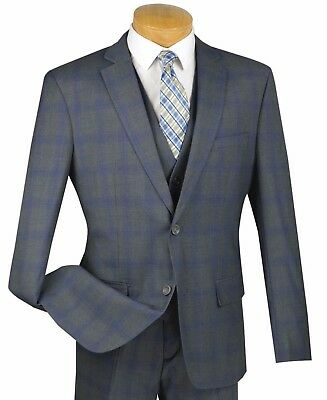 Men's Gray Glen Plaid 3 Piece 2 Button Slim-Fit Suit NEW w/ Matching Vest
