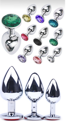 Beginner Plug Anal Stainless Steel Jeweled Anal Butt Suction Cup 3 Size S M L