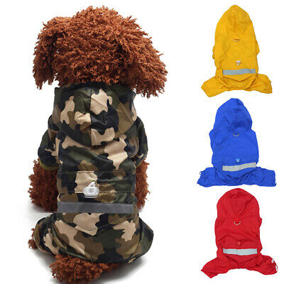 Dog Clothes Rain Coat Puppy Cat Pet Waterproof Jacket Rainwear Hooded Reflective