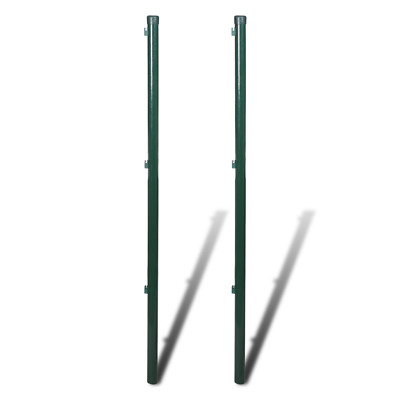 S# New 2pc Garden Mesh Fence Post 2m Iron Outdoor Wire Fencing Strive Heavy Duty