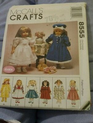 """8555 McCalls SEWING Pattern 18"""" Doll Clothes Gotz Fits American Girl OOP UNCUT"""