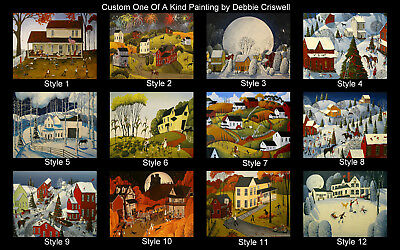 CUSTOM Order ORIGINAL folk art painting by Debbie Criswell 16x20 gift commission