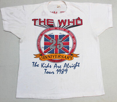 Vintage Original THE WHO 1989 The Kids Are Alright USA Tour - White T-shirt L