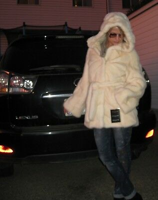 NWT STUNNING CHAMPAGNE MINK COAT HOOD BELT SAGA FUR ROYAL Small SABLE CHINCHILLA