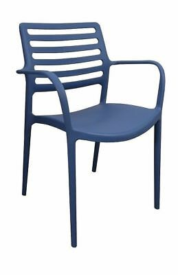 Bulk Lot 36 x New Louise Cafe Bar Outdoor Stackable Dining Chair Blue With Arms