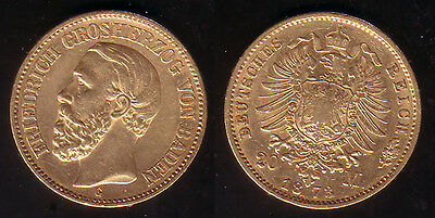 20 Mark Gold Baden Friedrich I. 1873