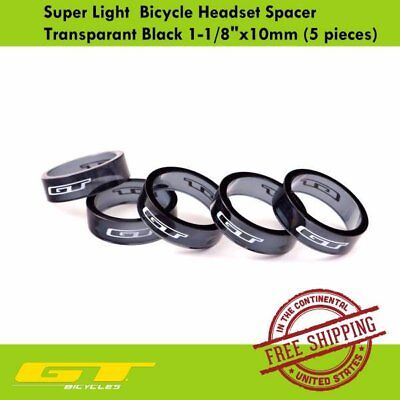 "GT Super Light Bicycle Headset Spacer Transparant Black 1-1/8""x10mm (5 pieces)"