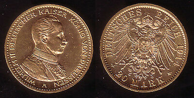 "20 Mark Gold Preussen ""Wilhelm II. - Kaiser in Uniform"" 1914"