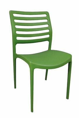 Bulk Lot 24 x New Outdoor CHAIR Stackable Cafe Seat Dining Chairs Louise Green