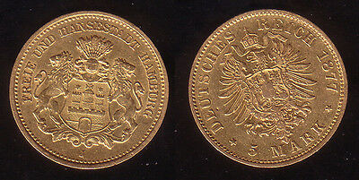 5 Mark Gold Hamburg 1877 J