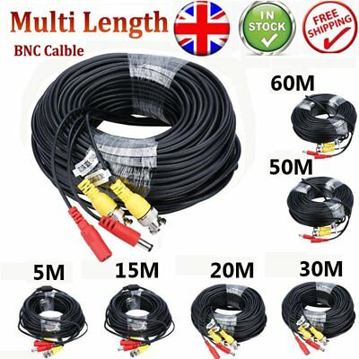 5M-100M BNC DC Power Lead CCTV Security Camera DVR Video Record Extension Cable