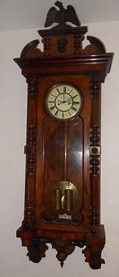 large victorian walnut cased keyhole double weight vienna wall clock
