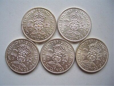 5 x George V1 silver Two Shillings, 1942.43.44.45 and 1946 ,EF - UNC [186]