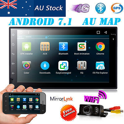 "Quad Core Android7.1 4G WIFI 7"" Double 2DIN Car Radio Stereo NON DVD Player GPS"