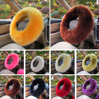 3pc/set Beautiful Fluffy Furry Interior Car Steering Wheel Cover Glove UK