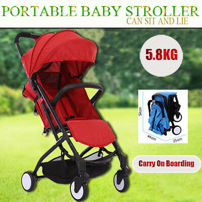 Red Compact Lightweight Baby Stroller Pram Easy Fold Travel Buggy Carry on Plane