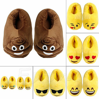 Emoji Plush Stuffed Unisex Slippers Cartoon Winter Warm Home Indoor Fluffy Shoes