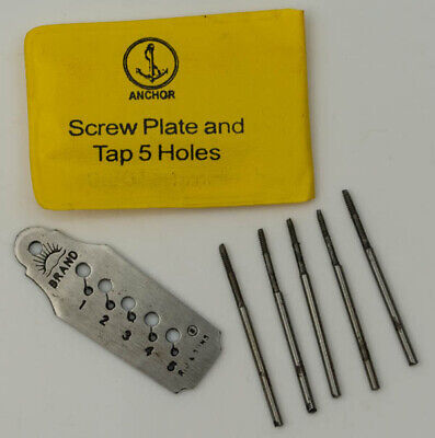 Screw Tap Die Plate with 5 Taps & Dies Micro Mini Set Watchmakers Jewellers tool