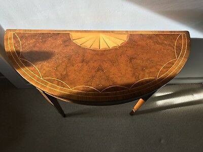 Half Demi Lune Hall Table With Wood Inlay, Beautiful.
