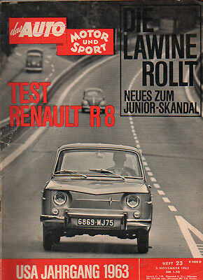 Magazine Auto, Motor and Sport Booklet 23 3.11.62 Test: RENAULT R8, MB 190