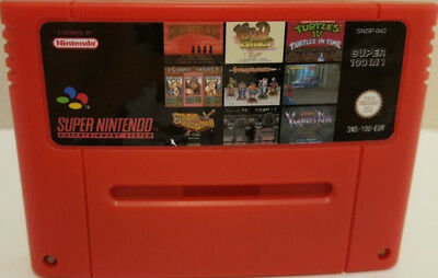 Super 100 in 1 Game For Super Nintendo SNES PAL English Tested and Works