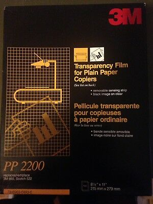 "3M Transparency Film For Plain Paper Copiers PP 2200 8.5"" X 11"""