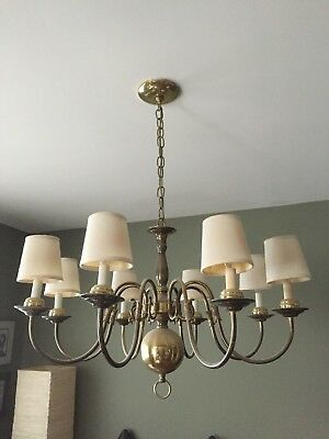 Vintage Brass 8 Arm Colonial Williamsburg Style Chandelier w Opt. Fabric Shades!