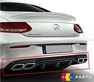New Genuine Mercedes Benz Mb C63 C205 Amg Rear Bumper Diffuser Black With Pipes