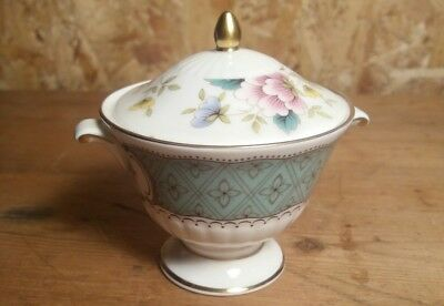 Royal Doulton miniature urn with lid, white, green, floral design (a27)