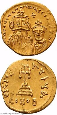 Byzantine Gold Solidus Coin Constans Ii Constantinople 641-668 Ad