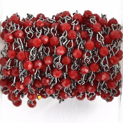 3ft Dark Red Crystal Rosary Chain, gunmetal, 4mm round faceted beads, fch0785a