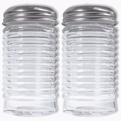 2Pc LARGE SALT & PEPPER SHAKER SET 90ml Real Solid Glass Classic/Traditional