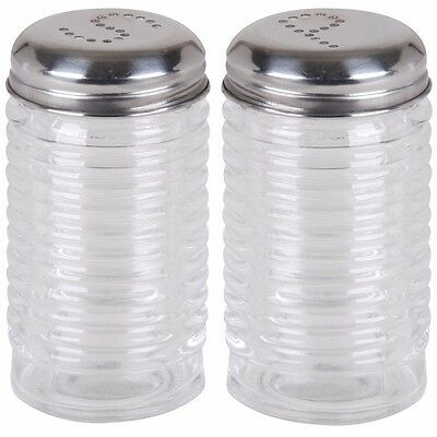 SOLID GLASS SALT & PEPPER SHAKER SET Stainless Steel Top Container Seasoning Pot