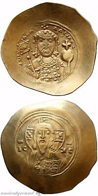 Byzantine Gold Or Electrum Coin Michael Vii Ducas Constantinople Christ Bust