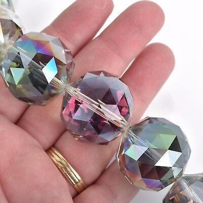 30mm NORTHERN LIGHTS Round Faceted Crystal Glass Beads, 7 beads, bgl1625