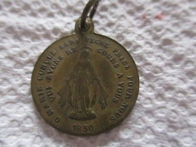 Large Vintage Antique French Bronze Round Miraculous Religious Medal Lot B1