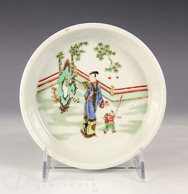 Chinese Famille Verte Porcelain Dish With Figures And Kangxi Mark
