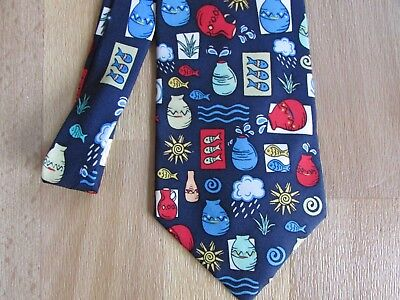 WATER Aid 100% Silk CHARITY Tie with Bright Motifs