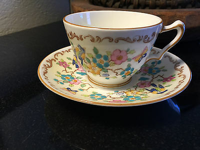 Crown Staffordshire Bone China Flowers Birds & Butterfly Cup & Saucer England