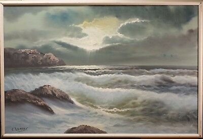 """Beautiful Vintage Seascape Oil Painting, Rocky Coast, Signed """"Clemens"""" NICE!"""