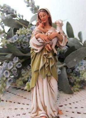 Madonna Mary Statue Holding Lamb and Child Jesus 4 inch Resin Figurine Outdoor