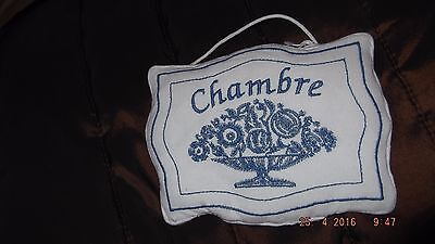 beautiful embroidered linen door sign, CHAMBRE, bedroom, french farm house style