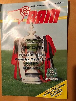 FA Challenge Cup 6th Round Replay Programme Derby County v Plymouth Argyle 1984