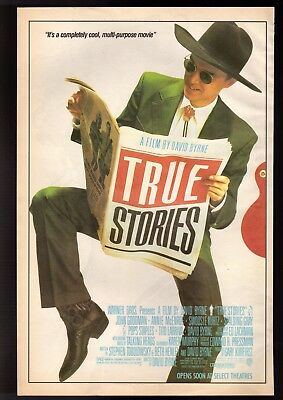 1986 True Stories Movie By David Byrne Advertisement   Big  Vintage Print Ad