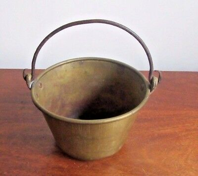 Antique Brass Pail With Wrought  Iron Handle And Copper Rivets