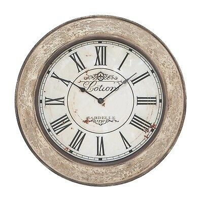 24-inch Vintage French Wall Clock Distressed Style Iron Crafted